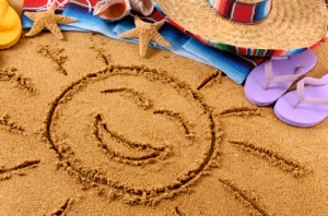 Mexican beach with smiling sun