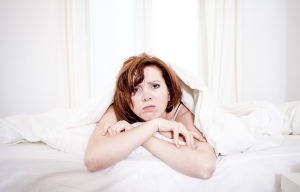 Woman In Bed With Insomnia That Can't Sleep White Background