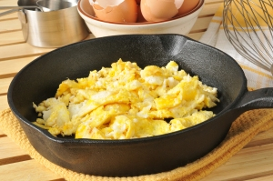 Scrambled Eggs In A Cast Iron Skillet