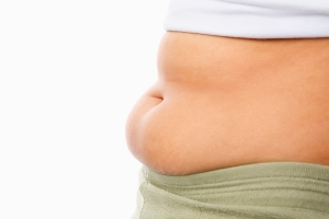 fat woman's tummy for obese concept isolated over white background