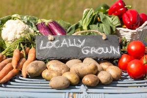 Organic vegetables on a stand at a farmers market with a sign re