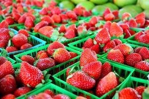 Strawberries At Farmer's Market